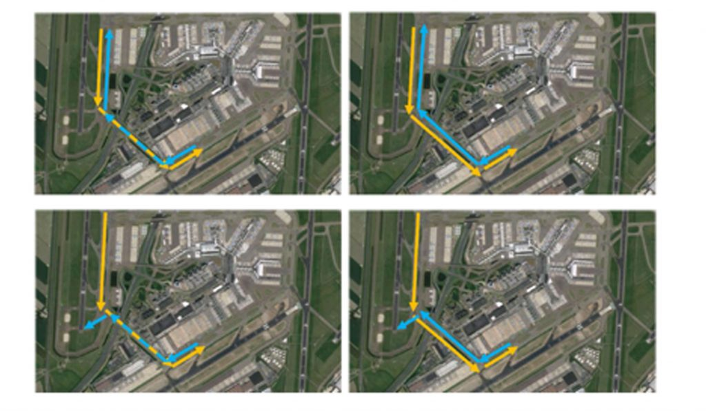 Opposite traffic in SW corner – with (right) and without (left) dual taxiway Q